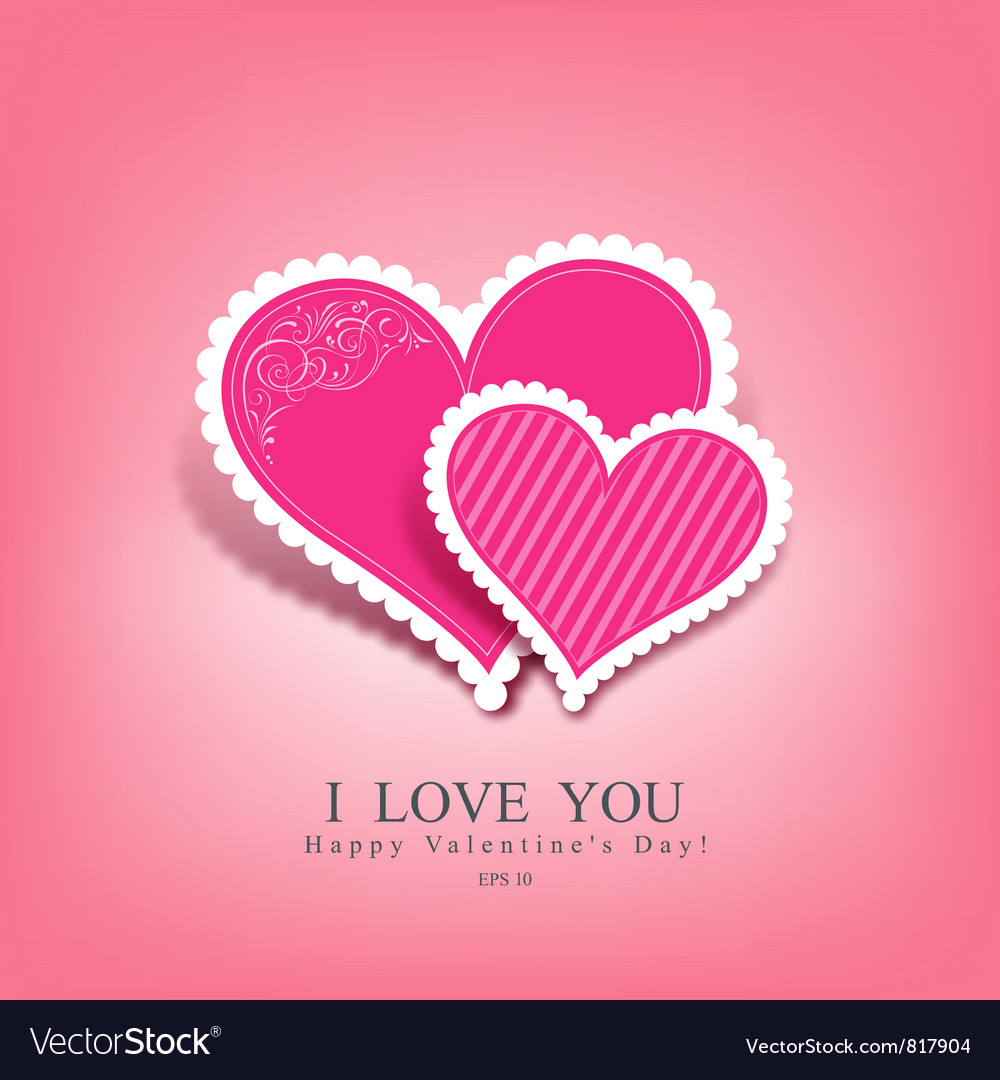 beautiful pink heart paper vector 817904