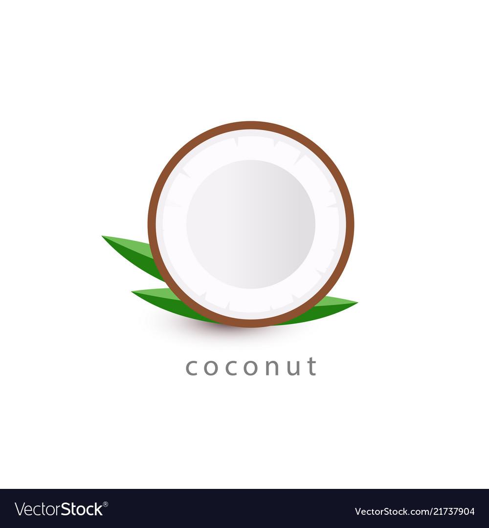 Coconut simple icon vegan logo template