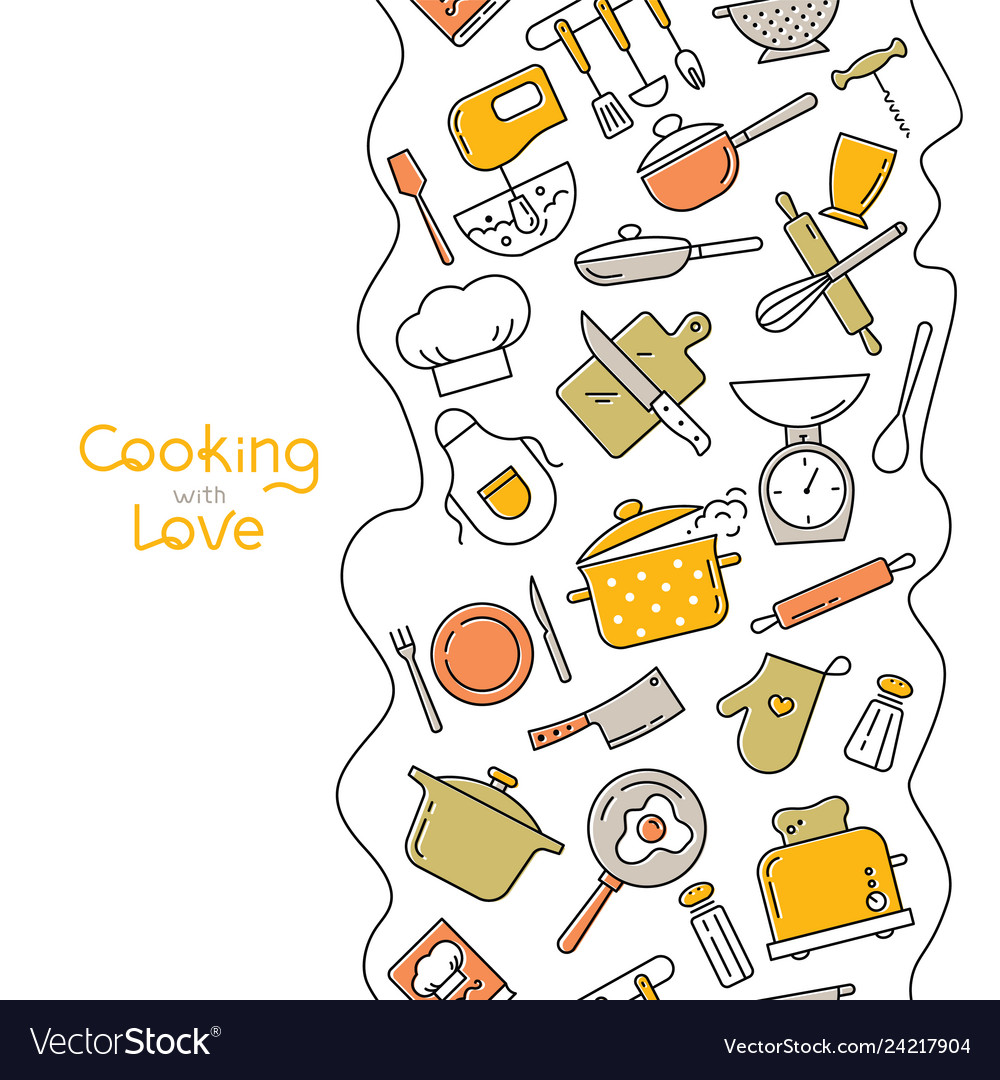 Cooking flat vertical seamless pattern with