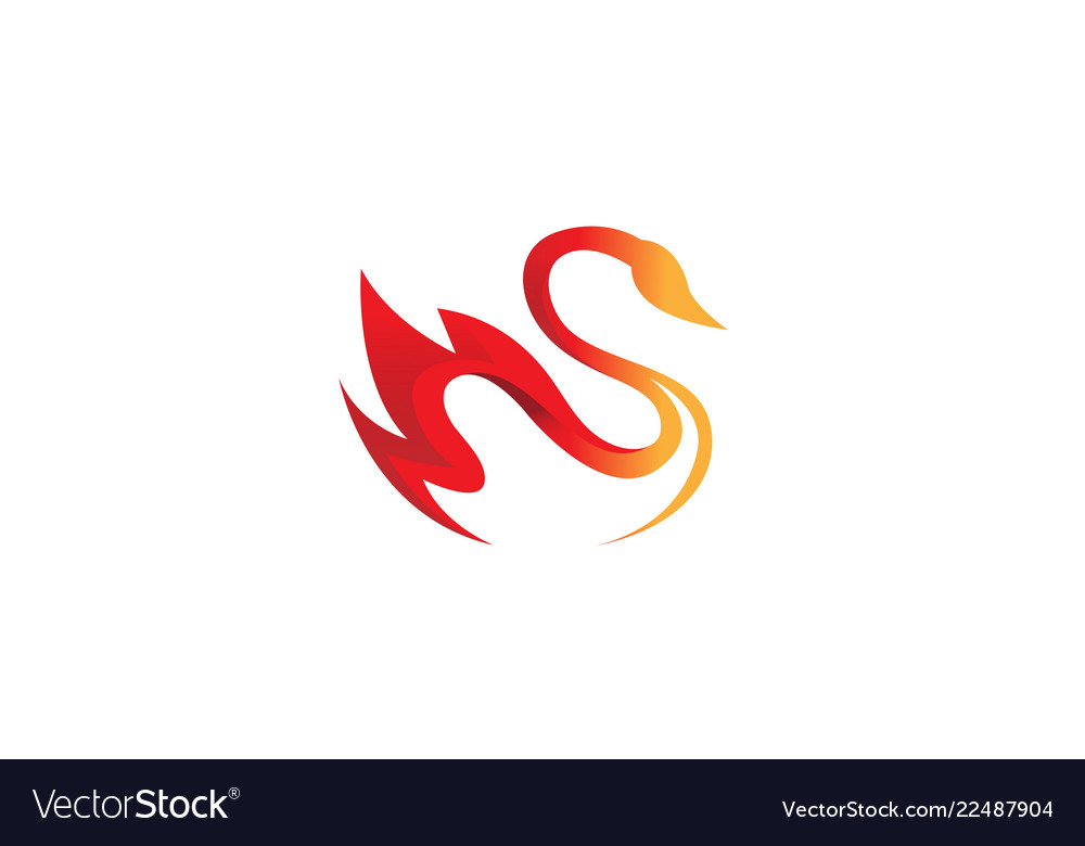 Creative fire orange abstract swan logo