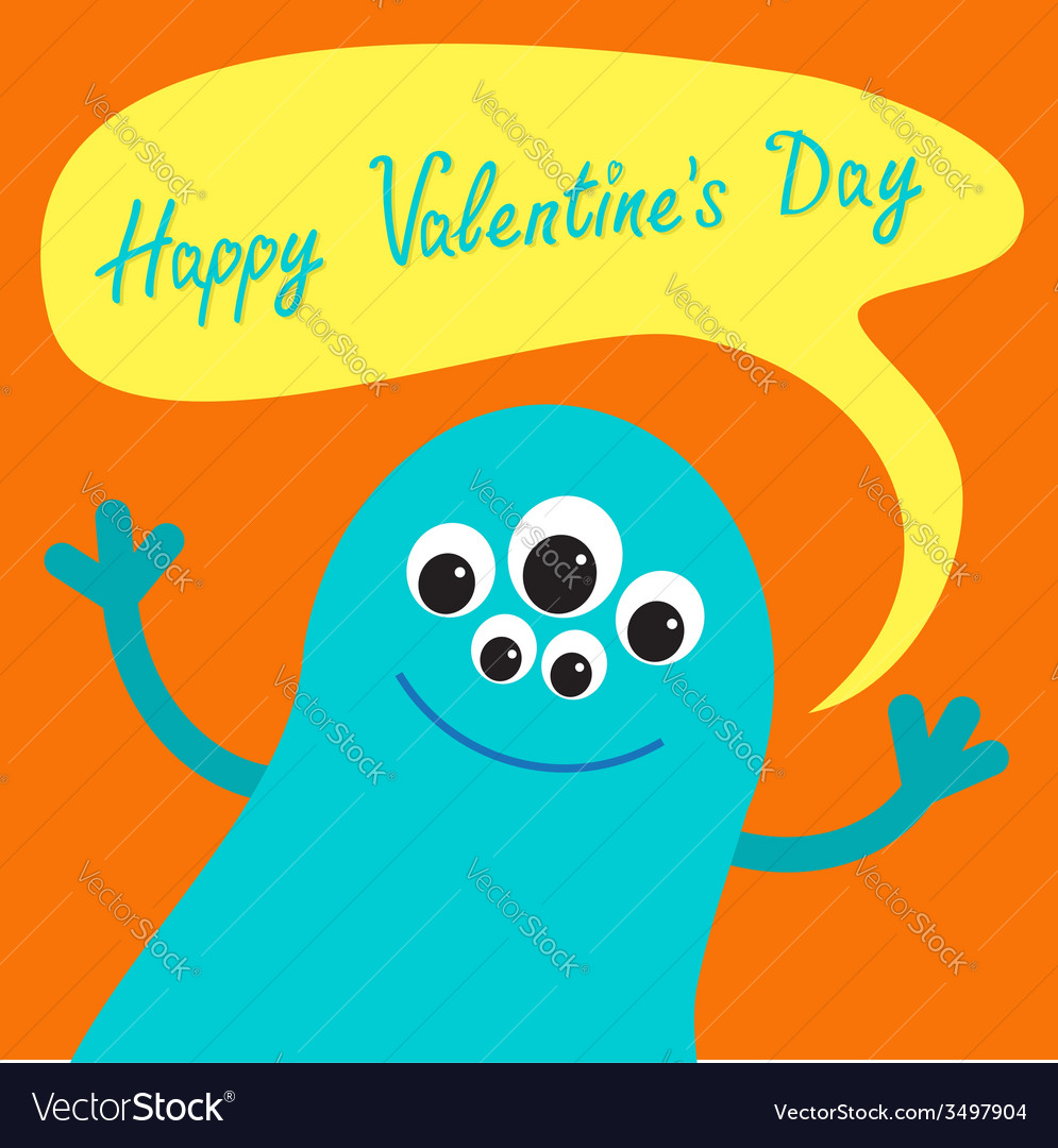 Cute blue monster with speech text bubble Happy