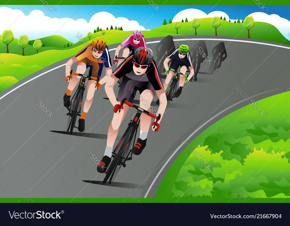 Group of cyclists racing