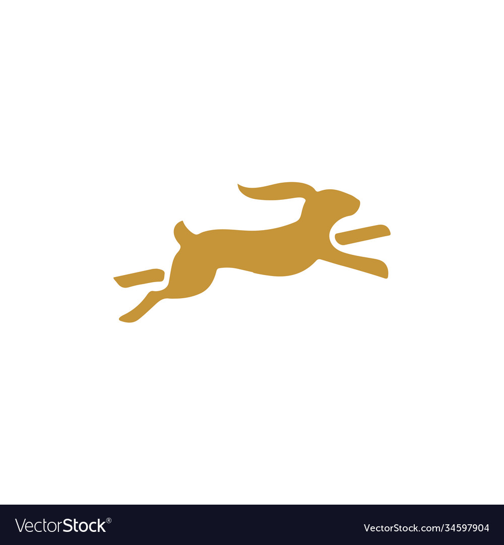 Running rabbit icon design template isolated