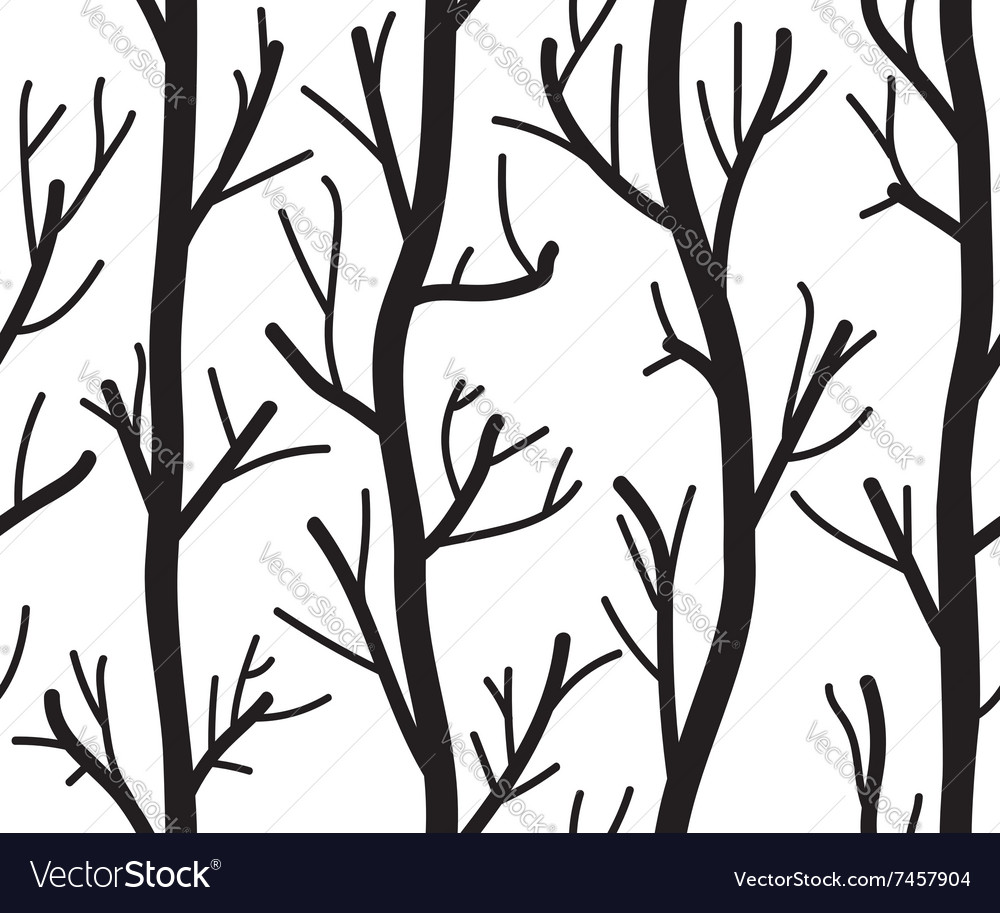 Seamless black and white background with trees