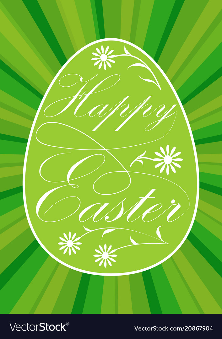 Vivid green easter egg with inscription happy
