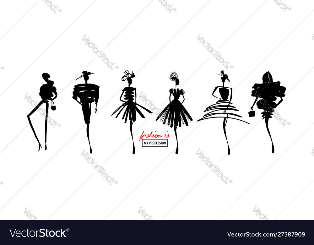 Fashion models sketch hand silhouette pop art