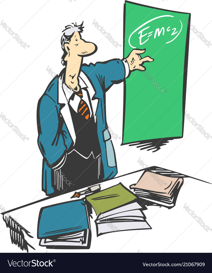 Funny cartoon professor making a presentation