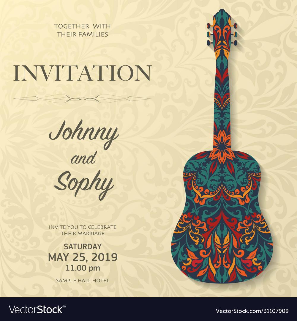 Guitar invitation floral pattern background