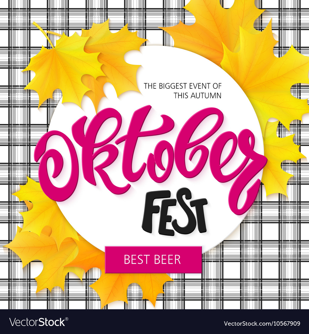 Hand drawn oktoberfest lettering label with leaves