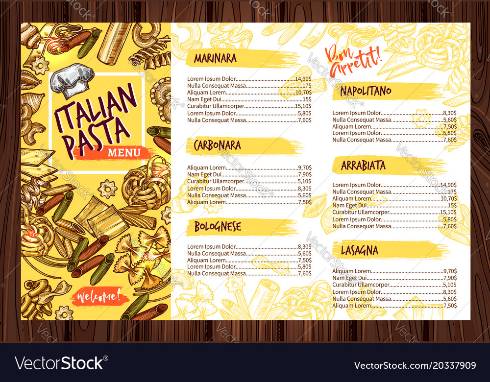 italian pasta restaurant menu template royalty free vector