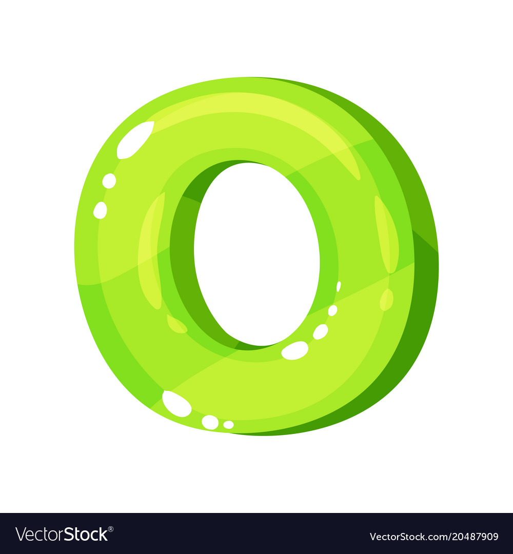O green glossy bright english letter kids font