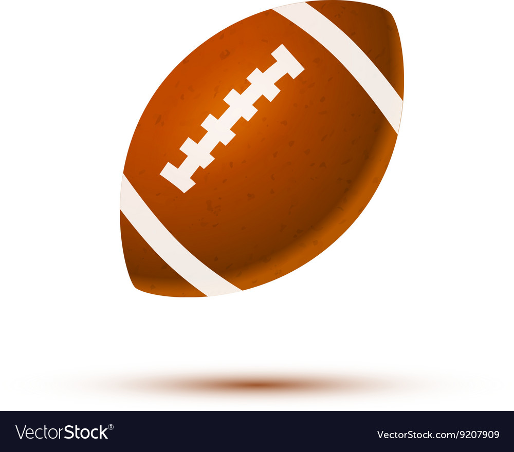 Realistic rugby ball with shadow on white