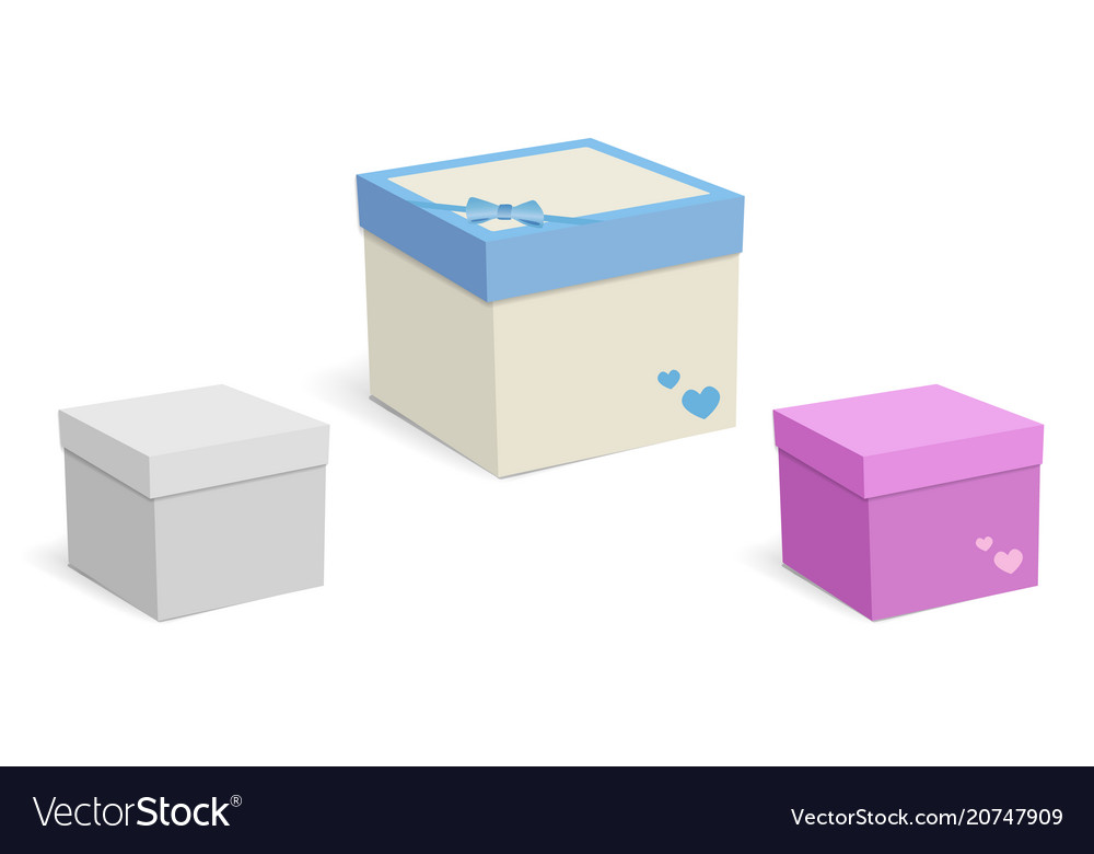 Square empty boxes for gifts isolated on white vector image