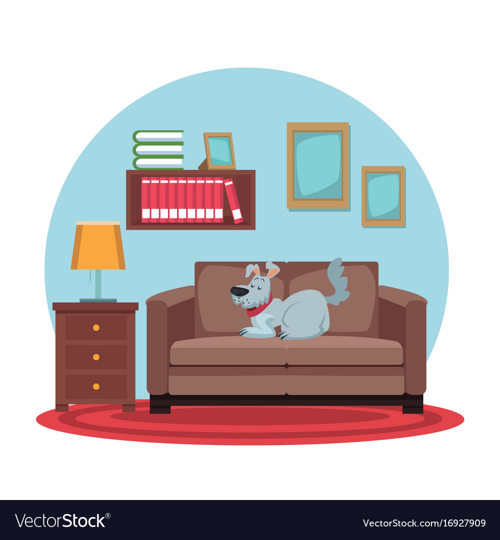 White background with circular colorful scene dog