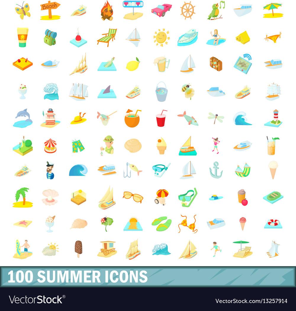 100 summer icons set cartoon style vector image