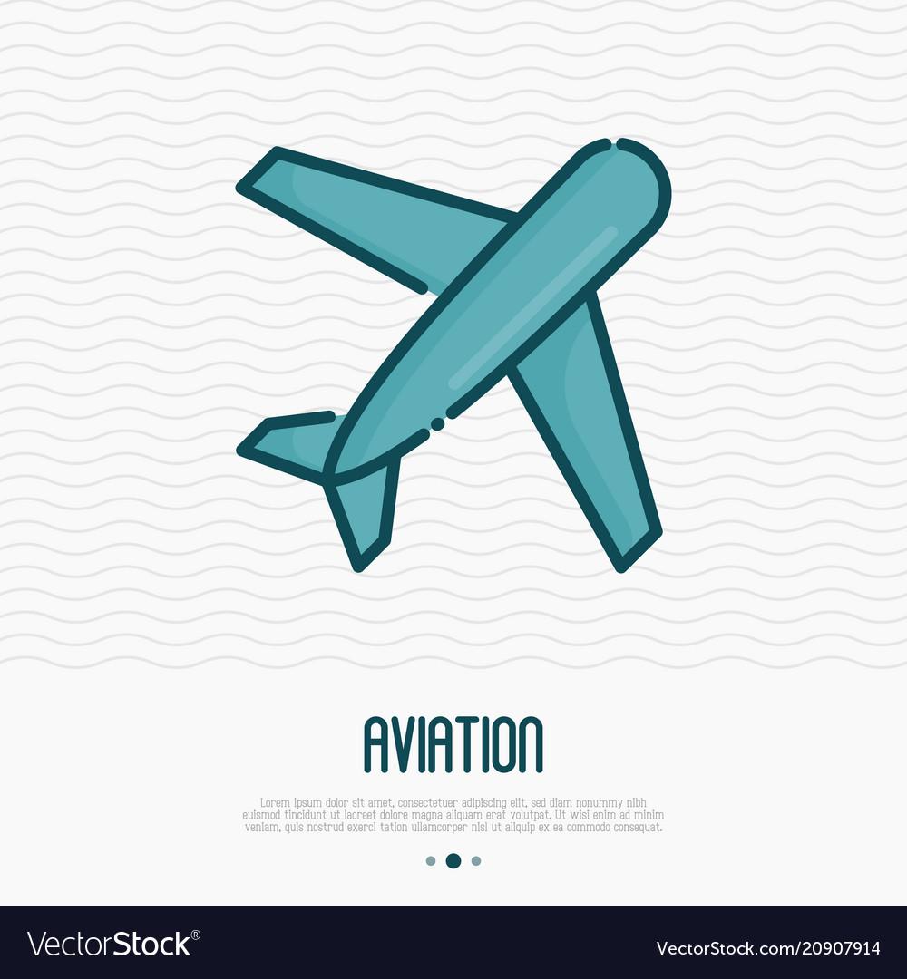 Airplane thin line icon