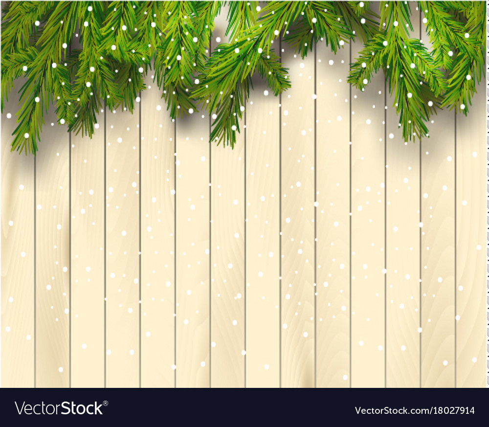 Christmas Wood Background.Christmas Tree Branches On Light Wooden Background