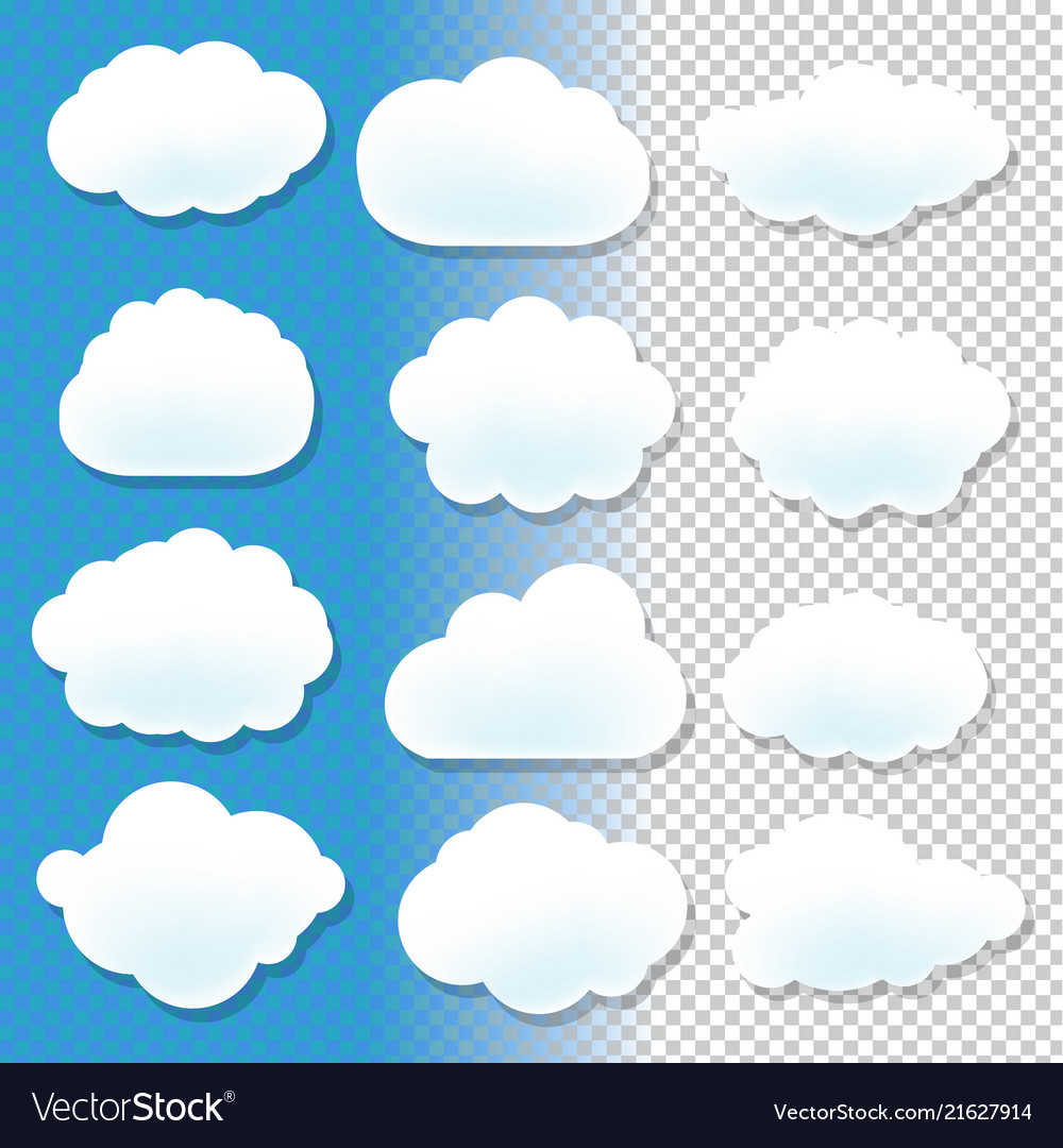 Cloud icons with blue and transparent background
