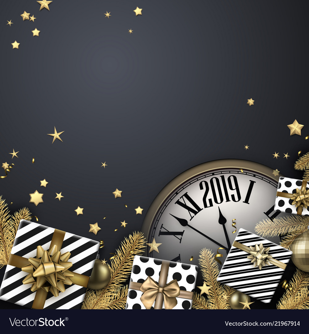 grey 2019 new year background with gifts and clock vector image
