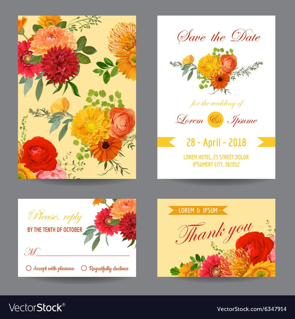 Invitation or Greeting Card Set - for Wedding