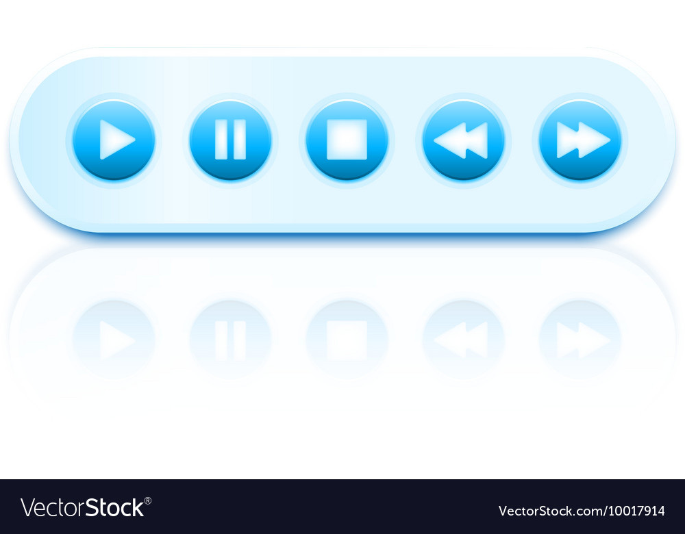 Isolated round glossy media player vector image