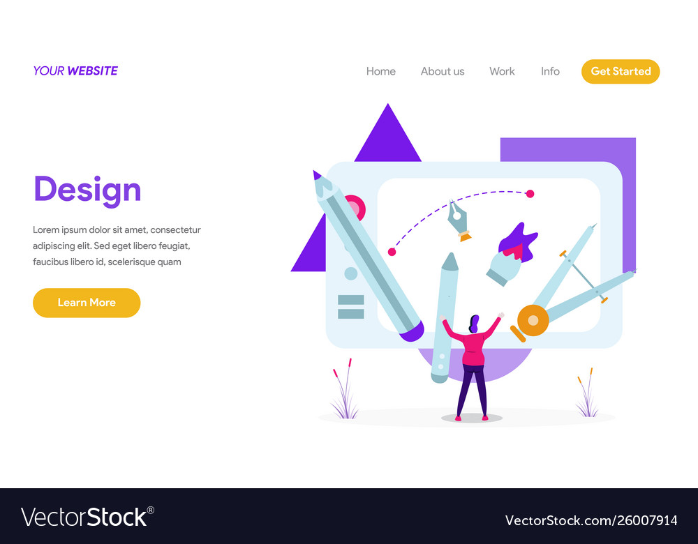 Landing page template design concept modern