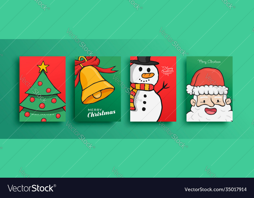 Merry christmas cute cartoon santa claus card set