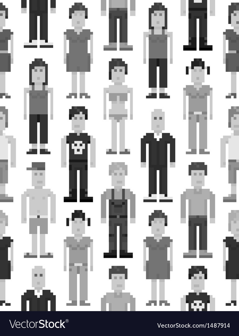 Pixel people seamless pattern vector image