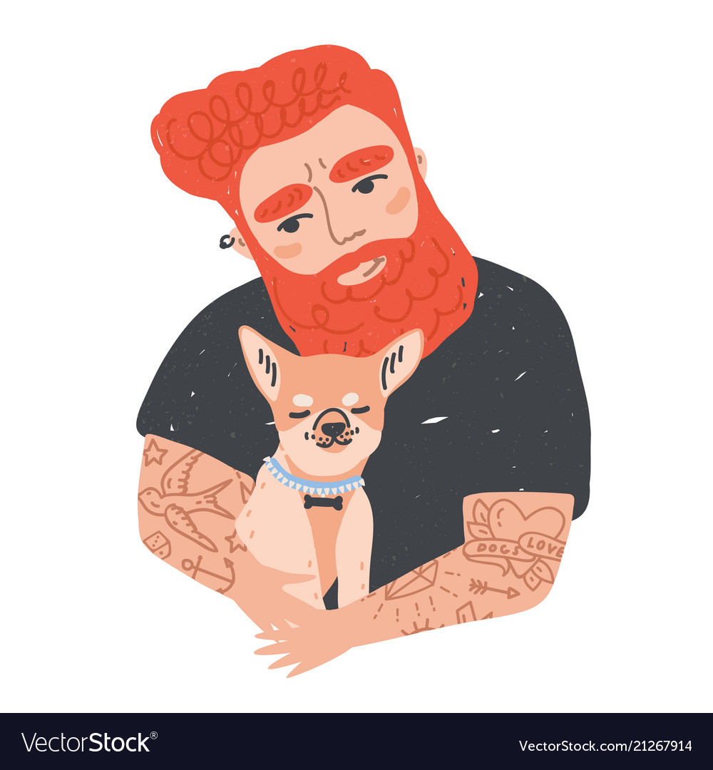 Portrait of cute redhead bearded man with tattoos