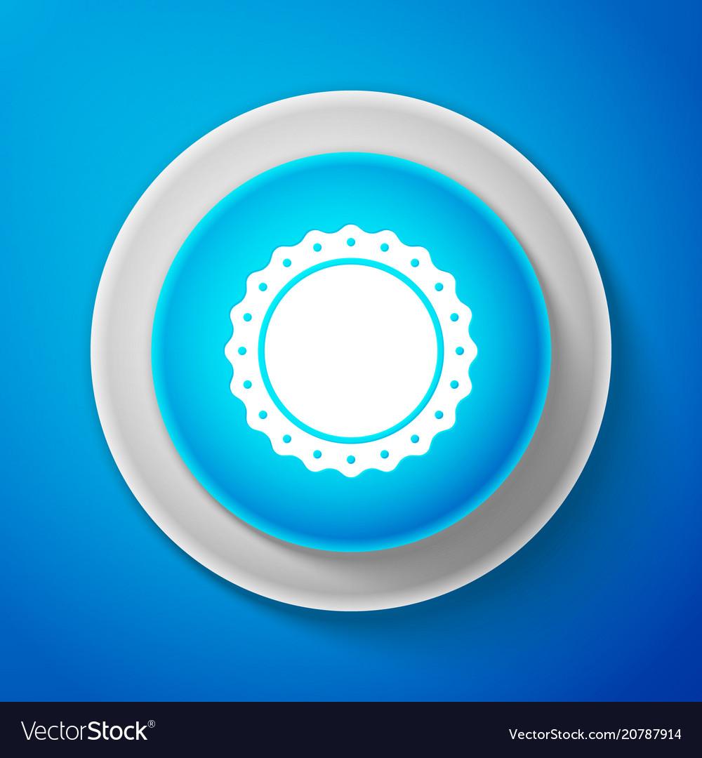 Quality emblem icon isolated on blue background