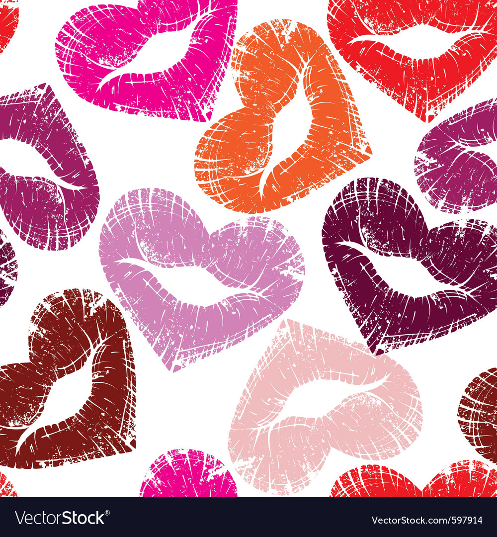 Seamless kisses vector image