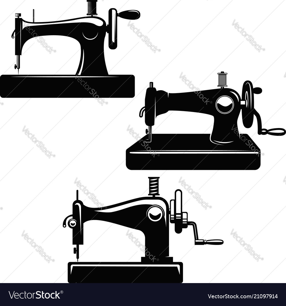 Set of sewing machine design element for poster