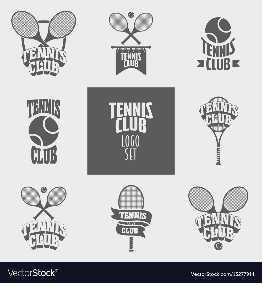 Set of tennis club logos badges or labels design