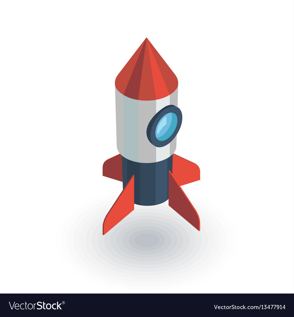 Startup rocket launch isometric flat icon 3d