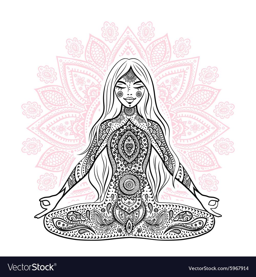 Vintage girl in a meditation pose