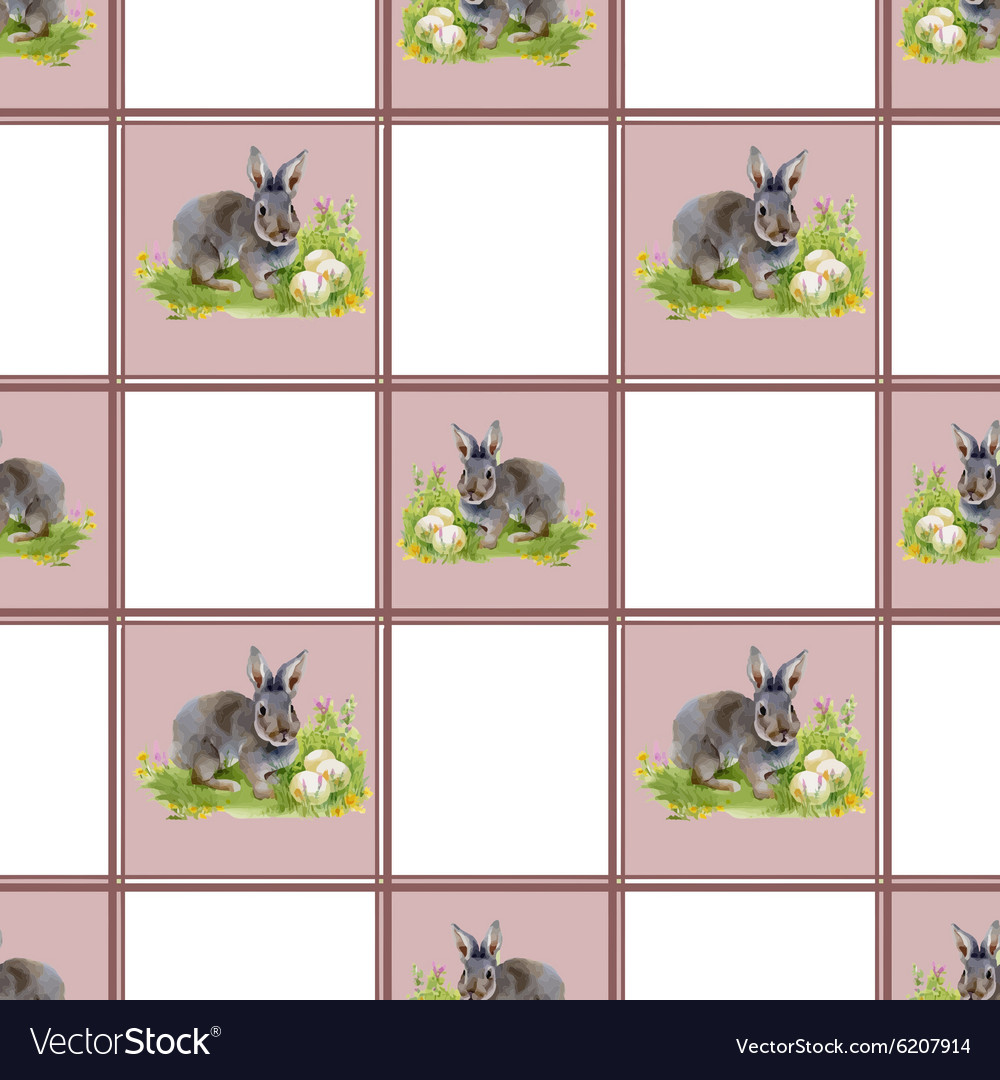 Watercolor rabbits with flowers seamless pattern