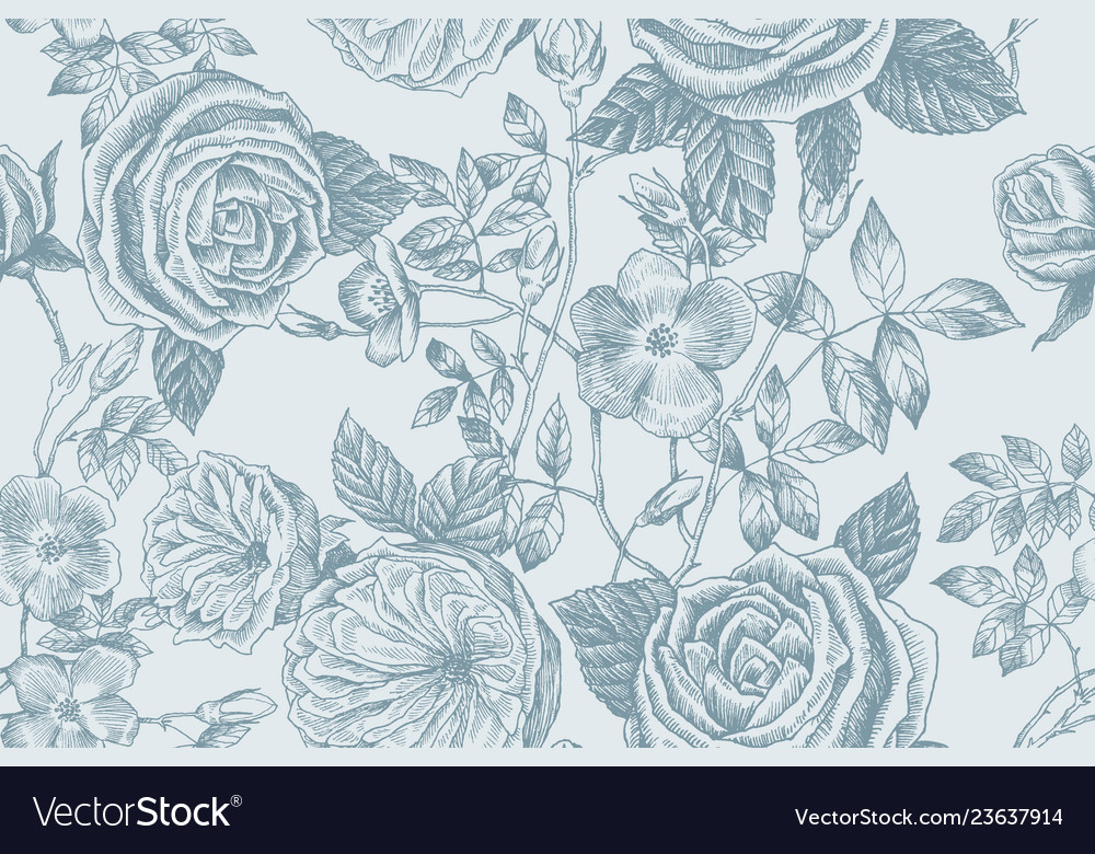 Wild roses blossom branch seamless pattern