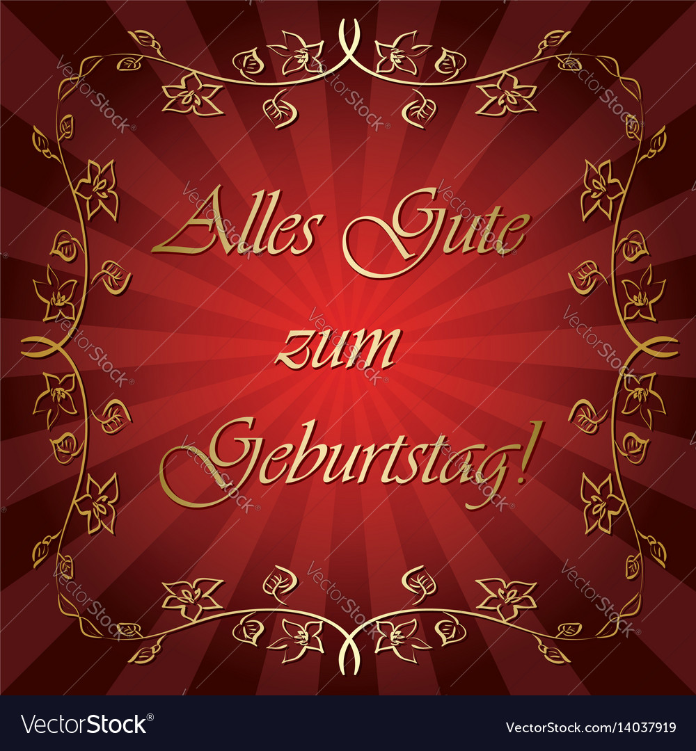 Alles Gute Zum Geburtstag Bright Red Greeting Vector Image