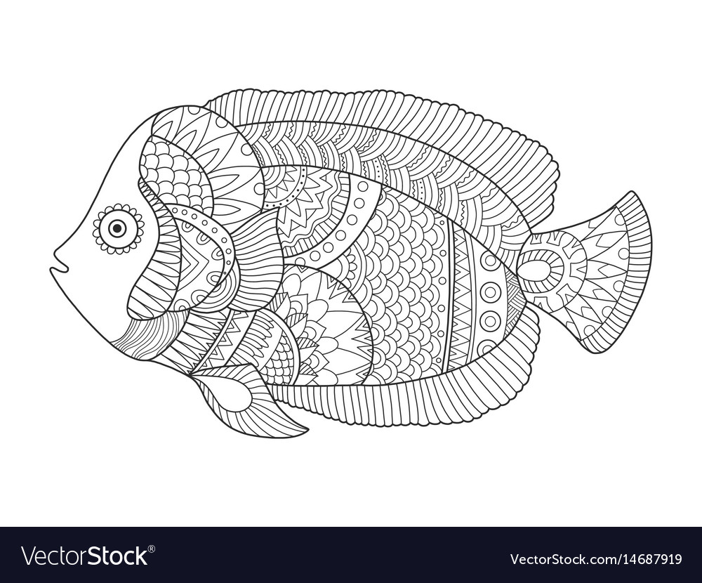 - Angel Fish Coloring Book Royalty Free Vector Image