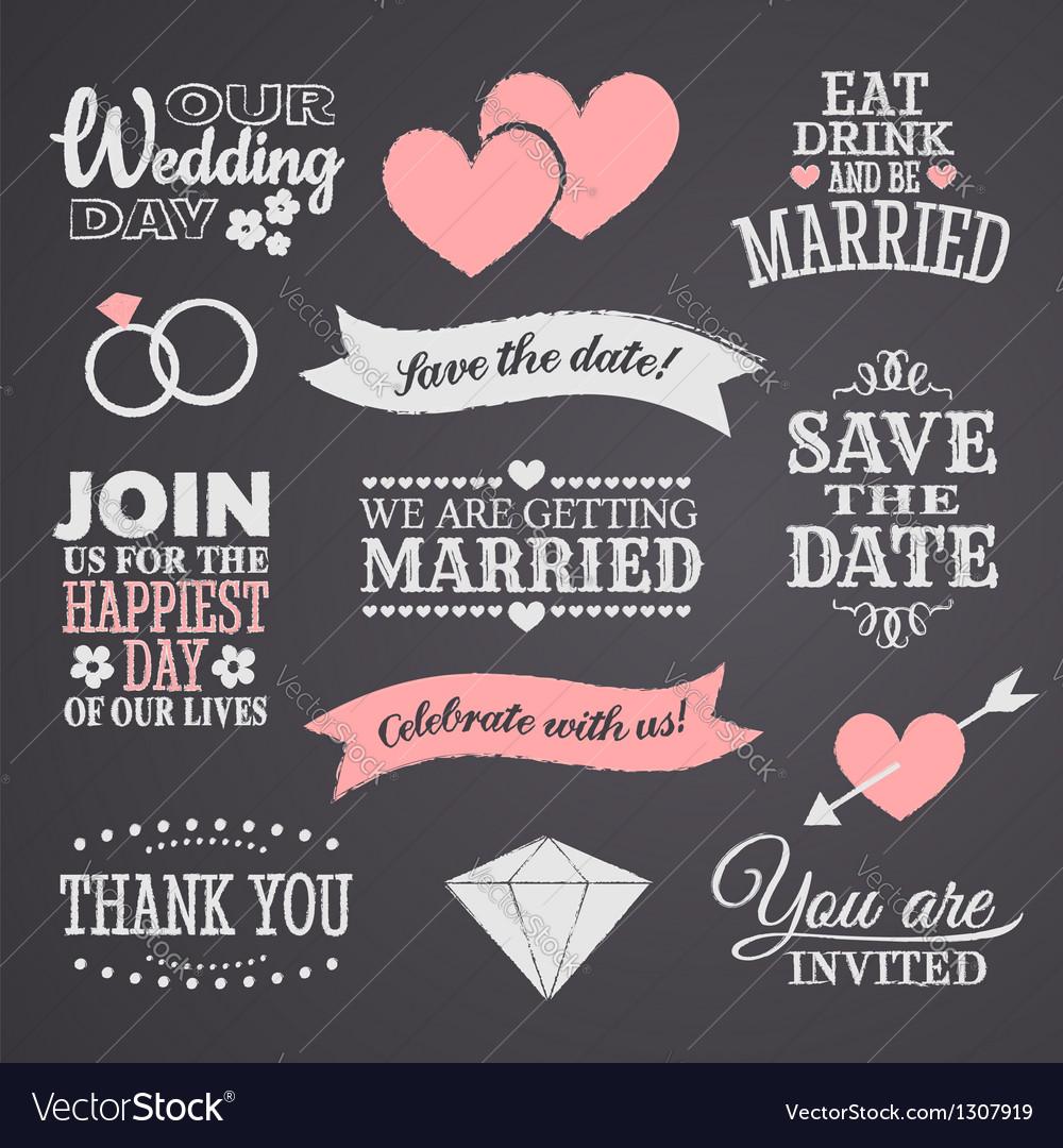 chalkboard wedding elements set royalty free vector image