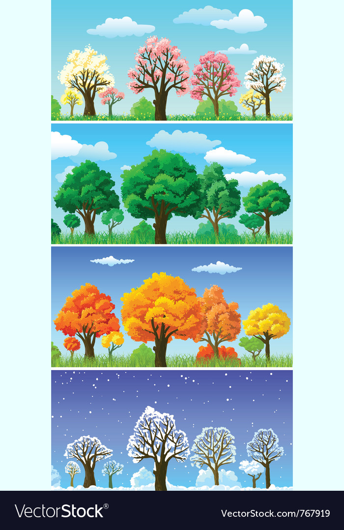 Four seasons trees and landscape banners