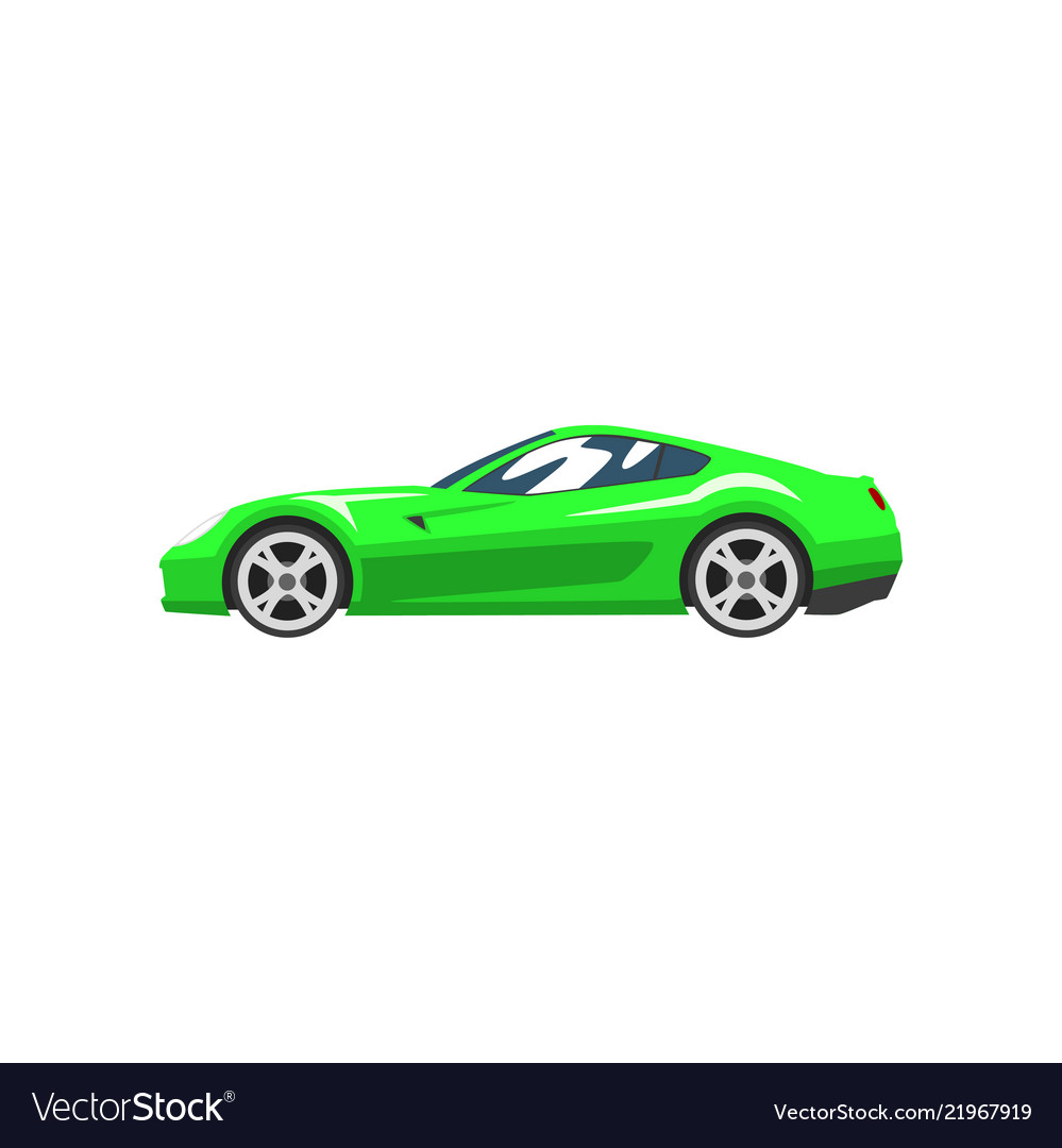 Green sports racing car supercar side view