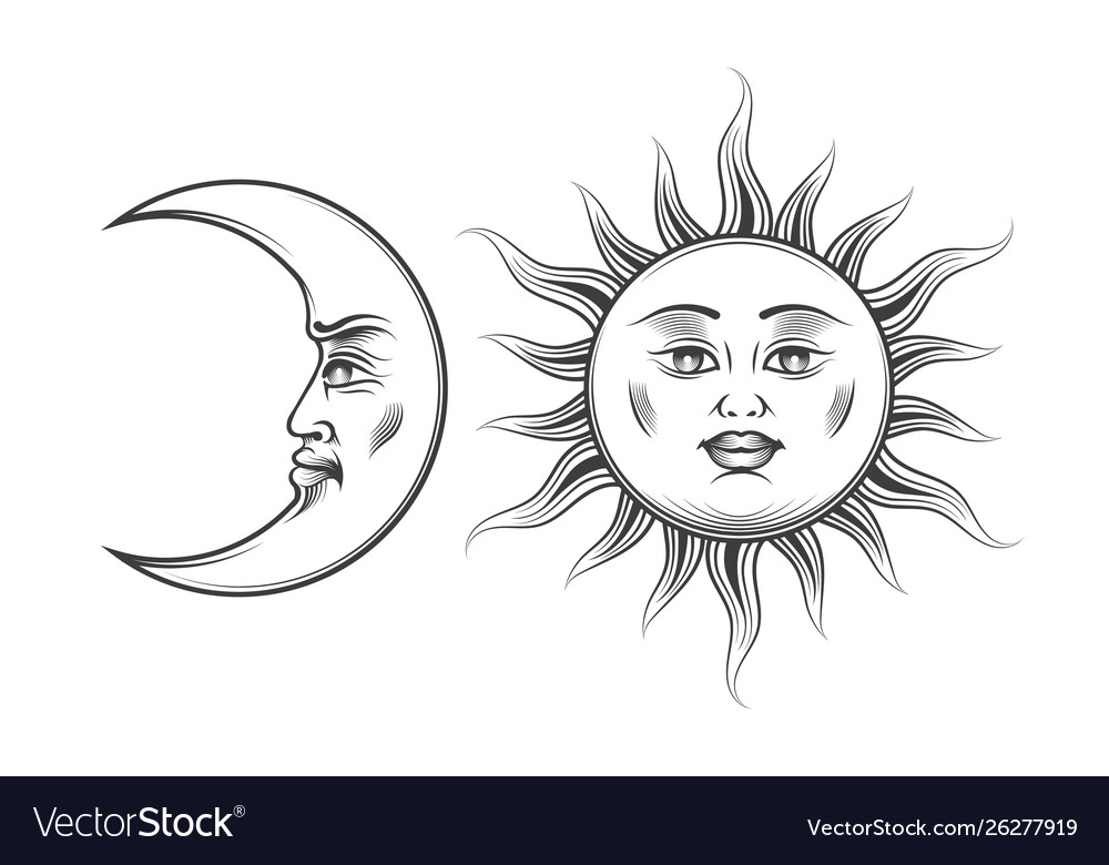 Hand drawn art sun and crescent moon engraving