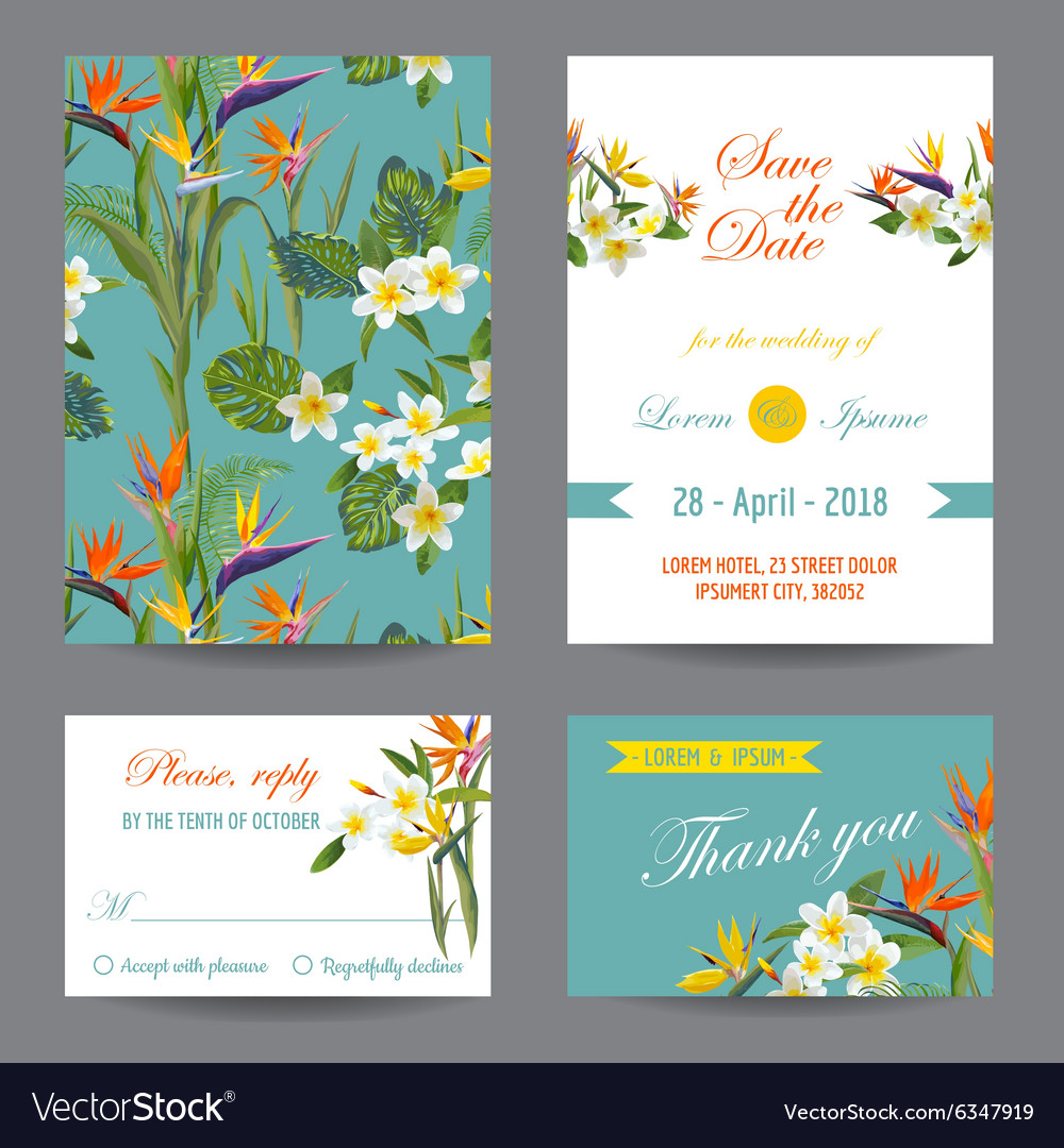 Invitation or Greeting Card Set - Tropical Flowers