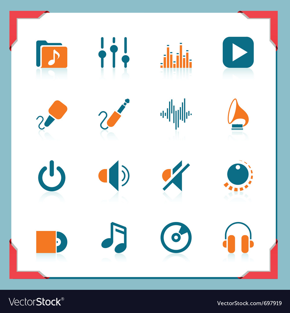 Music icons - in a frame series vector image