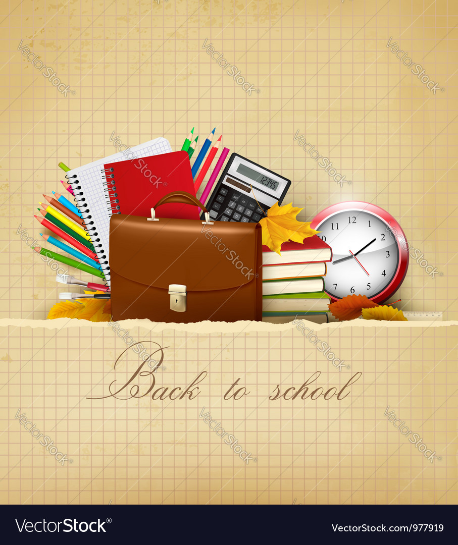 Old background with school supplies vector image