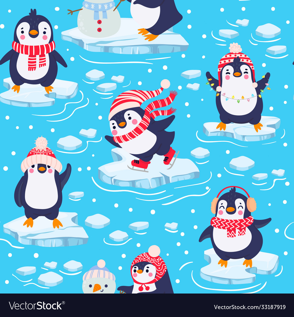 Penguins seamless pattern cute bapenguins in