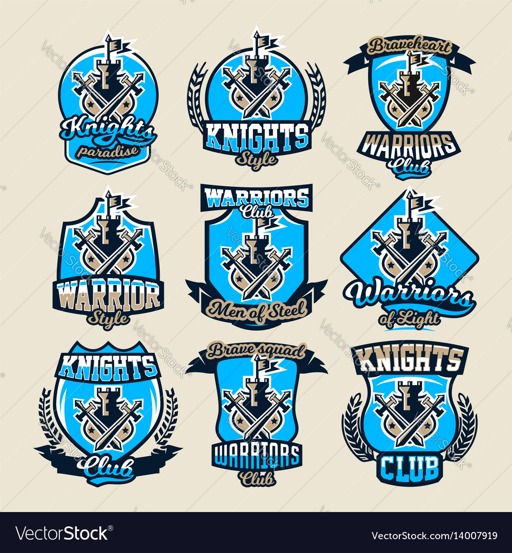 Set of colorful logos emblems ancient fortress