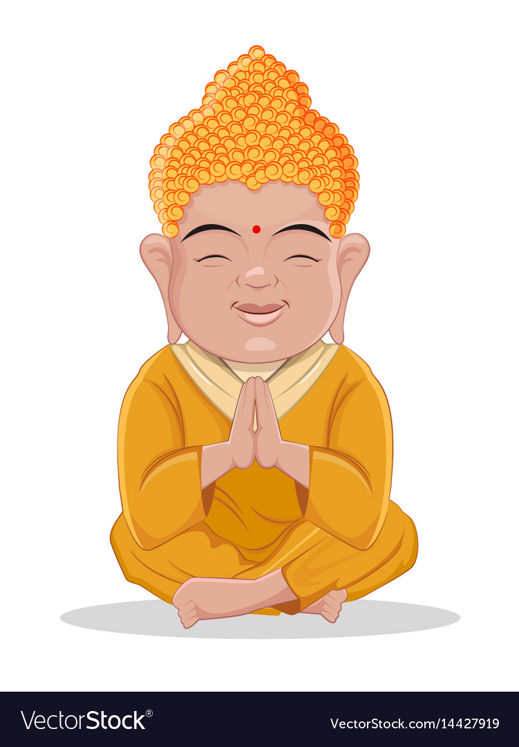 Sitting buddha cute colorful cartoon character vector image
