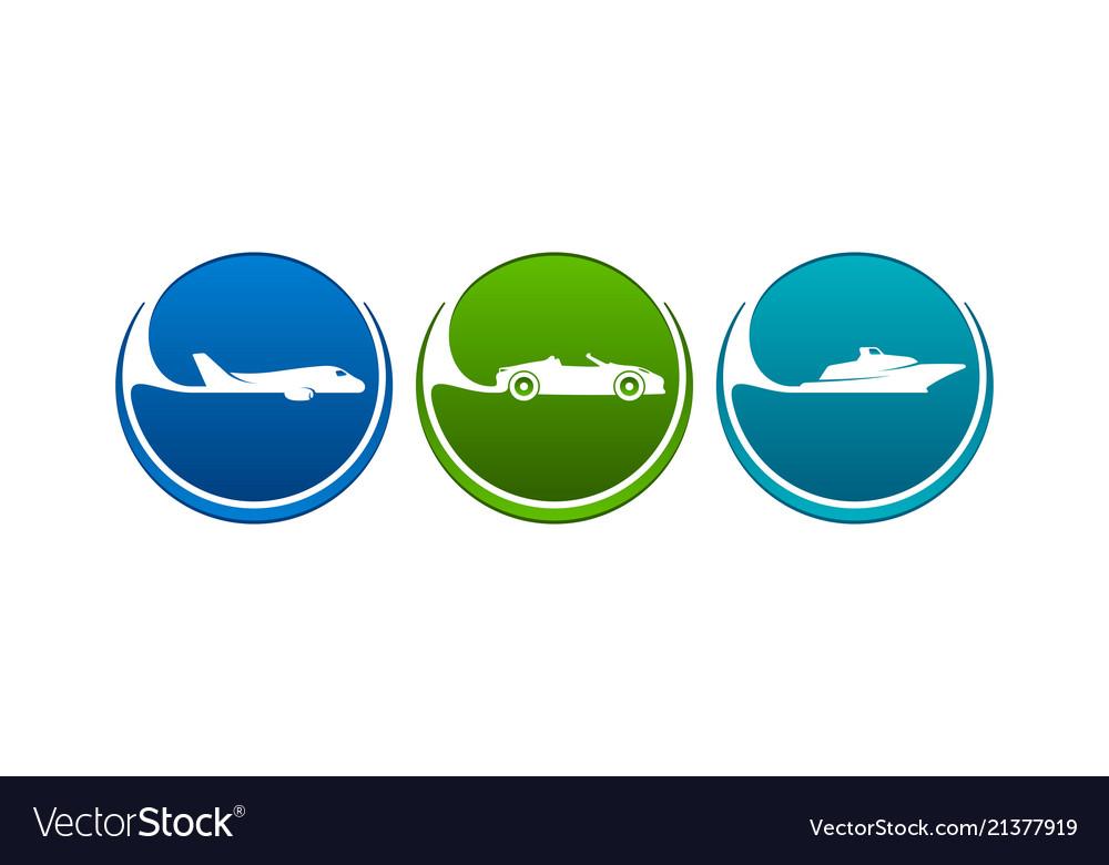 Vehicles icons like airline highway seaway